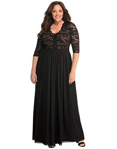 Kiyonna Women's Plus Size Jasmine Lace Evening Gown 2X Onyx