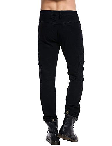 Fit Pantaloni Abbigliamento Bandage Silm Uomo B Black Strech tinta Con Jeans Multi Unita Casual wBx6IqgEx