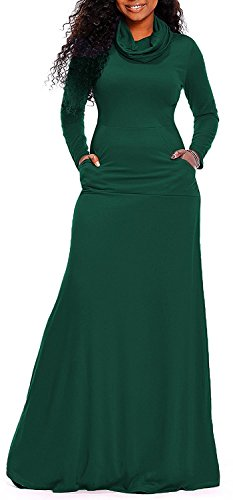 AM CLOTHES Women Cowl Neck Long Sleeve Loose Plain Long Maxi Dresses with Pockets Large Deep Green
