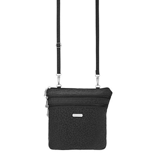Baggallini Zipper Crossbody Travel Bag, Black Cheetah, One Size
