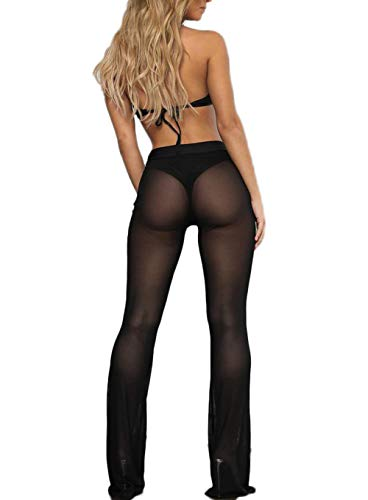 e6efa8b665 Lookwoild Womens Swimsuit Bottom Cover Up Pants Perspective Sheer Mesh See  Through Pants