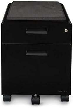 UPLIFT Desk – 2-Drawer File Cabinet with Seat, Rolling Black
