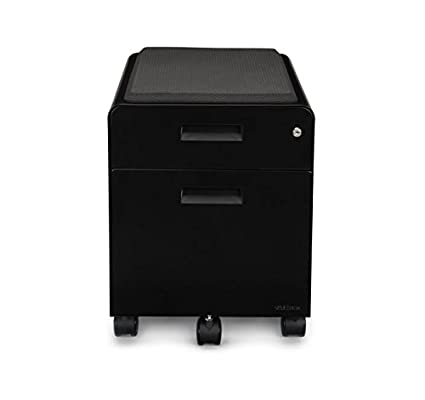 2 Drawer File Cabinet With Seat, Rolling By Uplift Desk (Black)