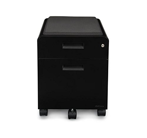 (2-Drawer File Cabinet with Seat, Rolling by UPLIFT Desk (Black))