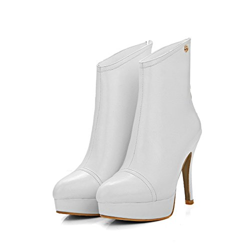 Heels Closed Allhqfashion Zipper top White Boots Pointed Toe Material Soft High Women's Low wqwBS