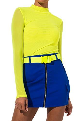 (AKIRA Women's Visible Zip Front Neon Buckle Belt Bodycon Mini Skirt-Blue_L)
