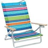 Rio Brands Aloha 5-Position Striped Aluminum Folding Beach Chair