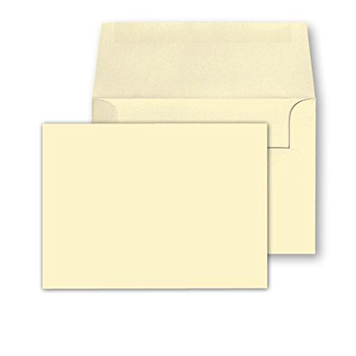 Cream / Natural / Off White, Heavy Blank Note Cards and Envelopes Size 5 X 7 - 50 Per Pack. - This Is Not a Fold Over Card.