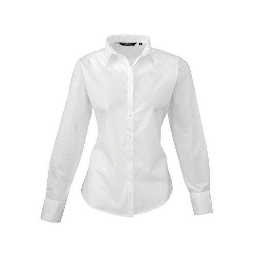 Blusa de manga larga de popelina para mujer blanco
