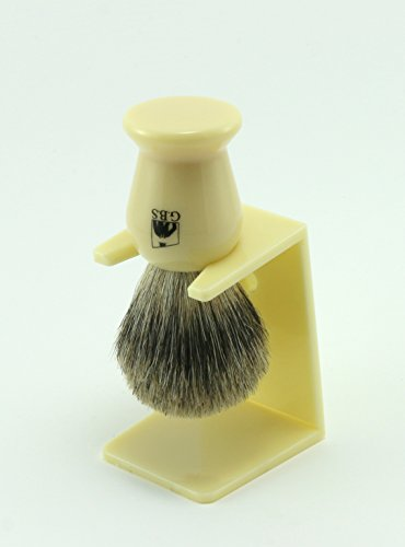 Pure Badger Faux Ivory Shaving Brush with Free Stand From GBS (Ivory Pure Shaving Brush)