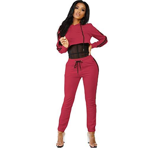 Automne Red Pantalon 6445 Mode Costume Causal Haut Hoodie Pièces Deux Hiver Sports Women's Nbe YqSwOxva7