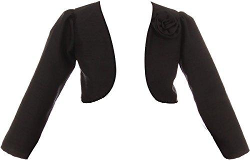 BNY Corner Big Girl Satin Long Sleeve Bolero for Flower Girl Wedding Pageant Communion Black 8 KD.409 ()