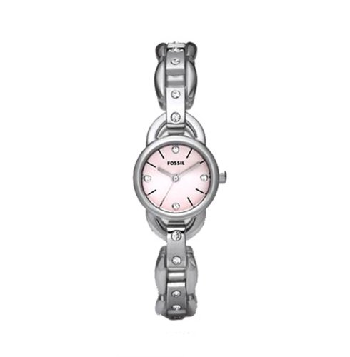 Fossil Women's ES2562 Linked Stainless Steel Bracelet Pink Analog Dial Watch
