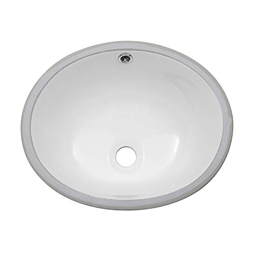 Sarlai 16' Pure White Oval Undermount Sink Porcelain Ceramic Lavatory Vanity Bathroom SinkÂ