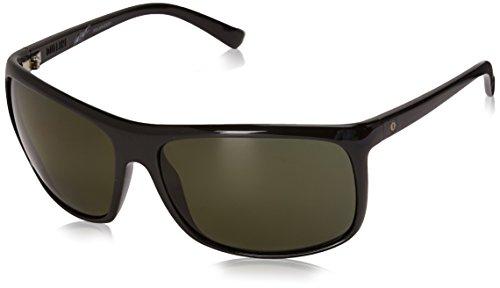 2017 Designer Sunglasses - Electric Outline Polarized Wrap Sunglasses, GLOSS BLACK, 64 mm