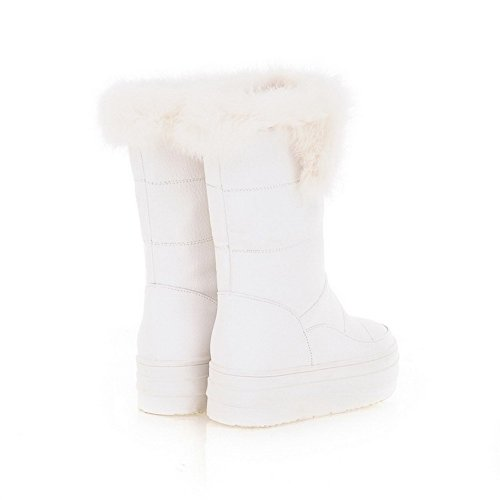 PU with White Heels Round B Hollow Toe Out M Closed US Boots 5 Solid Kitten AmoonyFashion Frost Toe PU Womens gR0nSS
