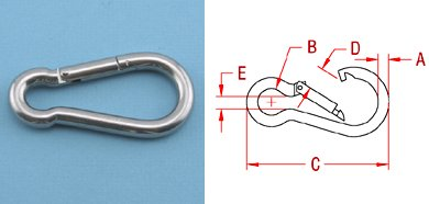 Stainless Steel Carabiner Spring Snap Link 3/16'' x 2'' (10 Pack, S0120-0050) by Suncor