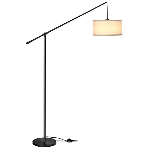 brightech hudson pendant floor lamp – classic elevated crane arc floor lamp with linen-textured hanging lamp shade- tall, industrial, adjustable uplight lamp for living room, office, or bedroom black
