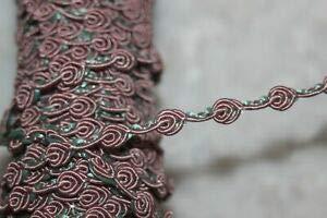 1.25 Yard Dusty Rose Mauve Mint Green Rosebud Sewing Trim 3/8