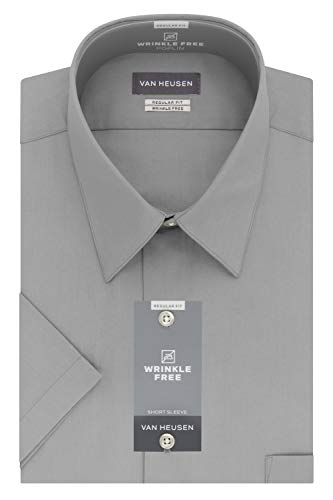 Van Heusen Men's Dress Shirts Short Sleeve Poplin Solid, Greystone, 18.5