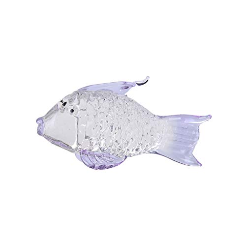 - NIHAI Crystal Transparent Big Goldfish Glass Ornament Wedding Decor Paperweight Figurine Gift Crafts Wedding Gifts Party Home Decoration- 52mmx10mm (Purple)