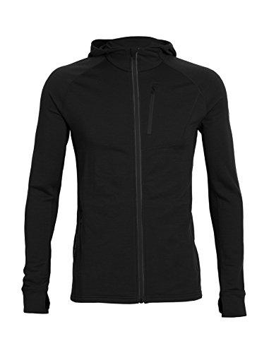 Icebreaker Men's Quantum Long Sleeve Zip Hood, Black, Large