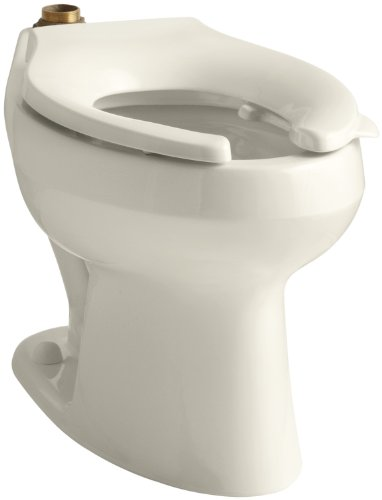KOHLER K-4406-L-47 Wellworth(R) 1.6 or 1.28 GPF Flushometer Valve Elongated Flushometer Toilet Bowl with Top Inlet and Bedpan Lugs, Without Seat, Almond Almond