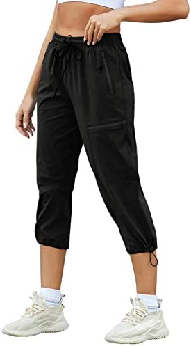 JACK SMITH Women's Hiking Cargo Pants Outdoor Lightweight Capris Water Resistant UPF 50+ Pant with Zipper Pockets