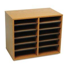 ** Wood/Fiberboard Literature Sorter, 12 Sections, 19 5/8 x 11 7/8 x 16 1/8, Oak **