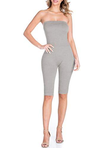 BEYONDFAB Women's Bikers Short Pants Tube Jumpsuit One Piece Short Catsuit DH Grey L