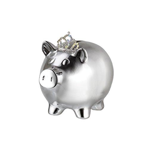 Prinz 6.5 X 4.5 X 5.Inch Silver Ceramic Pig with Crown bank