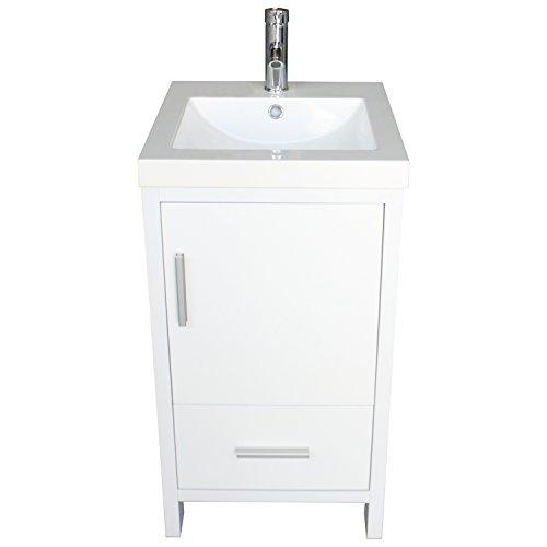 Sliverylake Contemporary White Bathroom Vanity Cabinet Wood Undermount Sink Bathroom Vanity Set with Resin Sink (Contemporary Vanity Sink)