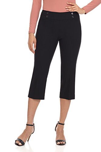 Woven Knit Waist Elastic Pants - Rekucci Women's Ease in to Comfort Fit Capri with Button Detail (10,Black Texture)