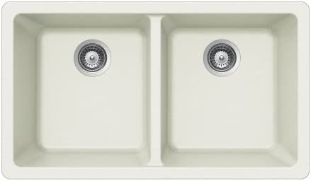 Houzer M-200U CLOUD Quartztone Series Granite Undermount 50 50 Double Bowl Kitchen Sink, White