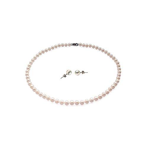 Blue Pearls-Parure Collier et Boucles d'Oreilles Perles de culture-BPS 1070 O Blanc