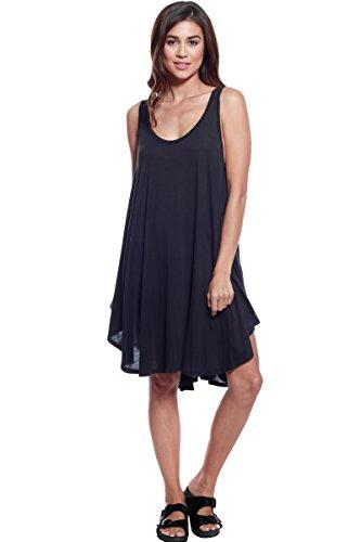 A+D Womens Casual Sleeveless Modal Black Loose Tunic Tank Dress (Black, Small)