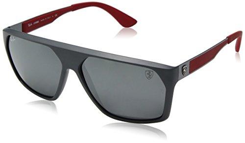 (Ray-Ban Men's RB4309M Scuderia Ferrari Collection Square Sunglasses, Matte Grey/Grey Mirror, 60 mm)