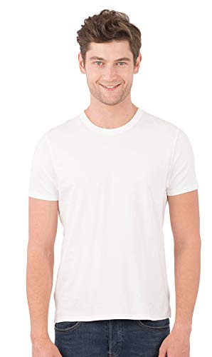 100% Organic T-shirts - SOIZZI Fashion Men Classic Crew T Shirt, 100% Organic Cotton GOTS(R), Basic and Casual Design Crew Neck Short Sleeve Tee, White-M