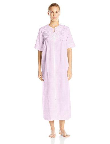 Miss Elaine Women's Seersucker Zip Robe, Pink/White Stripe, Large