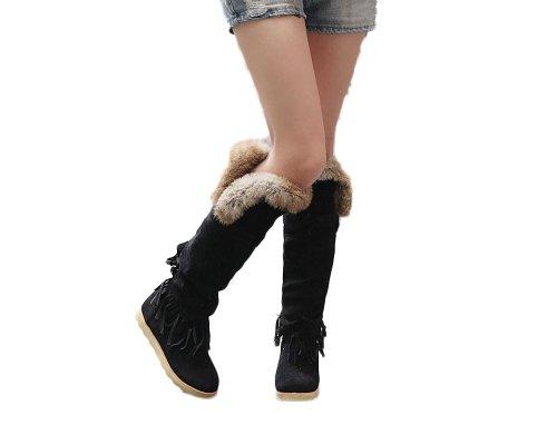 Foot Heel Boots Snow Black Low Women Charm adgxtTqq