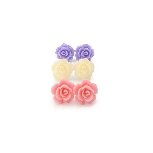 10mm Rose Earrings Trio on Plastic Posts, Set Pink, Cream, Purple ()