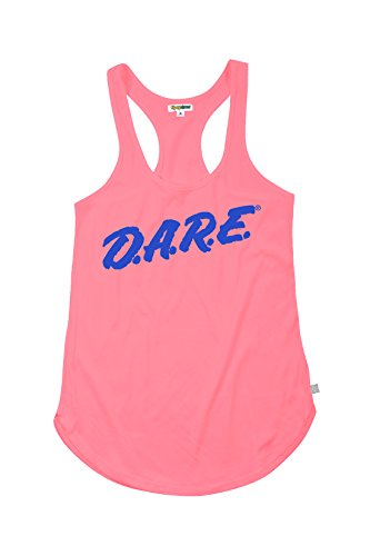Women's Neon Pink Dare Retro Tank Top Shirt - 80's Halloween Costume Shirt (Large) -