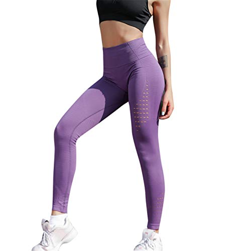 Thenxin Women's High Waist Yoga Leggings Slimming Workout Sports Running Pants Solid Color(Purple,L)