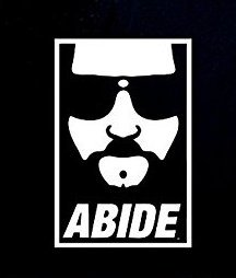 NI995 The Dude Abide The Big Lebowski Inspired Decal Sticker | 6.5-Inches By 4.2-Inches | Premium Quality White ()