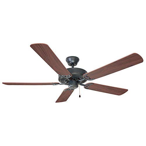 Design House 154153 Downrod Mount, 5 mahogany Blades Ceiling fan, Oil-rubbed Bronze