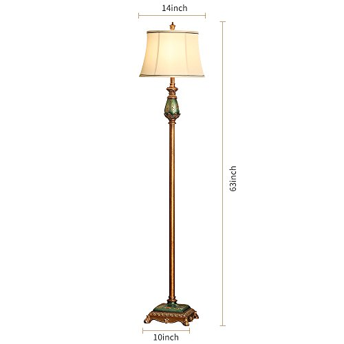 LampRight Classic European Country Style Hand Painted Retro Floor Lamp 64 inch - Traditional Elegant Delicate Resin Base, Unique Artistic Hand Painted Body and Original Fashion Fabric Lampshade by Lamp Right (Image #7)