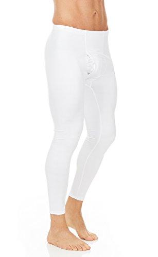 Thermajohn Mens Thermal Pants Bottoms (White, Medium)