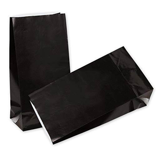 KEYYOOMY 50 CT Small Paper Bags Black Goody Bags for Wedding Baby Shower Kid's Birthday Party (Black, 50 CT, 3.1 X 5.1 X 9.4 In) -