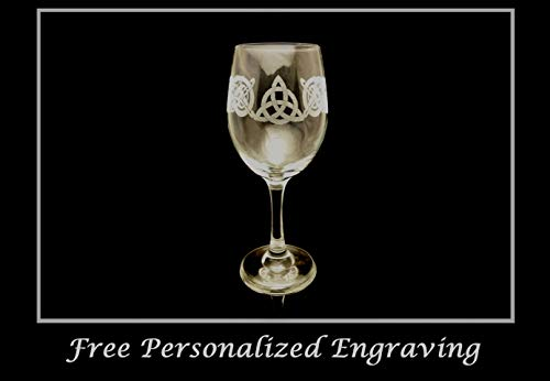 Trinity Celtic Knot Clear Wine Glass - Free Personalized Engraving