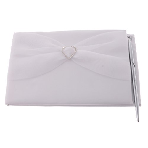 LOVIVER Rhinestone Tulle Guest Book and Pen Wedding Accessories